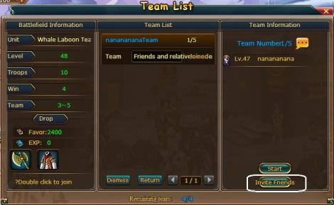 5. invite friend battle team pirate king