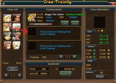 crew training pirate king