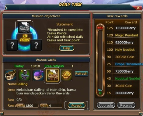 6. daily task 10 point pirate king