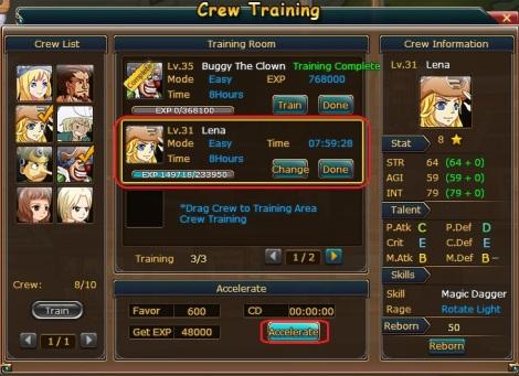 8. akselerasi crew training pirate king