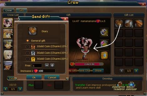 8. send gift menu pirate king