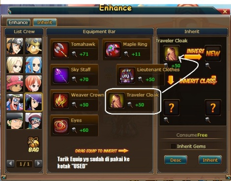 1. cara inherit enhance di pirate king