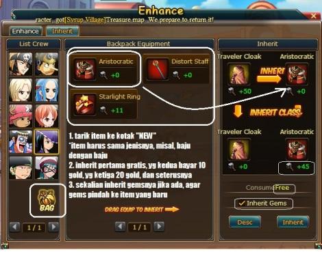 2. cara inherit enhance di pirate king