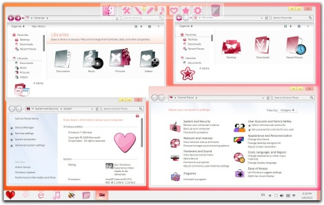 3. valentine theme, icons and windows explorer