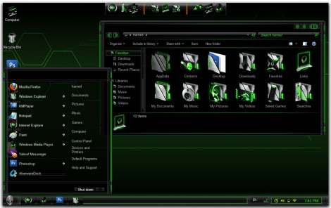 1. green alienware theme for windows 7