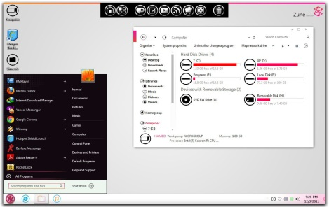 1. LIGHT ZUNE THEME pack for windows 7