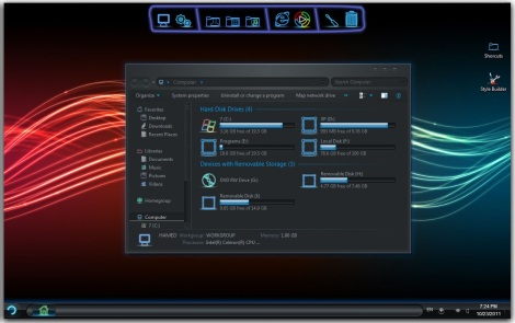 2. neon skin pack for windows 7