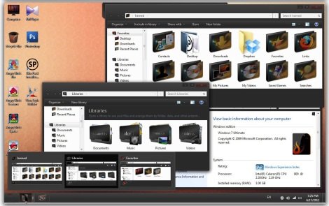 3. black pro7 theme pack for windows 7