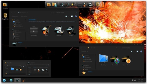 3. full black skin pck for windows 7