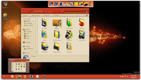 3. orange theme pack for windows 7