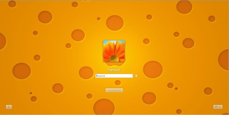 4. orange login screen for windows 7