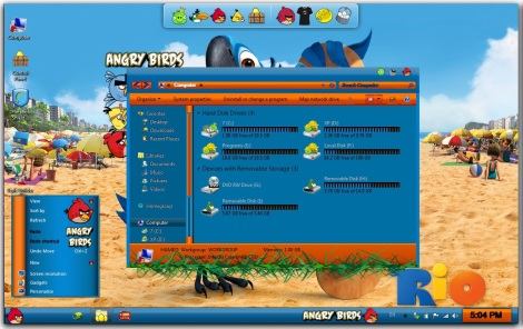 1. angry birds rio theme for windows 7