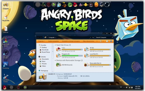 1. angry birds space theme for windows 7