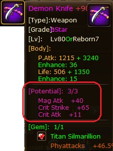 1. potential pirate king, mag atk - crit strike - crit attack