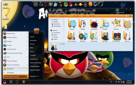 2. angry birds desktop theme for windows 7