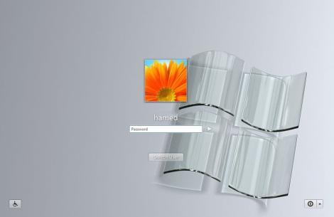 4. crystal glass theme login screen