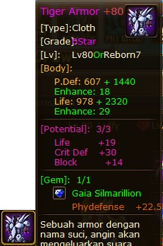 4. tiger armor pirate king potential, life - crit def - block