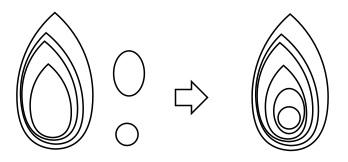 8. objek quilling digabungkan
