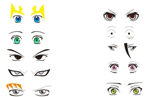 anime and manga eyes vector pack download