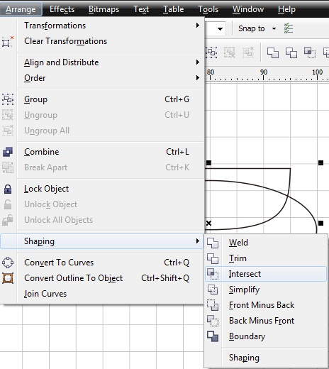 11. intersect object coreldraw