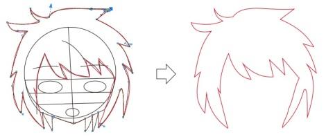 6. menggambar rambut anime