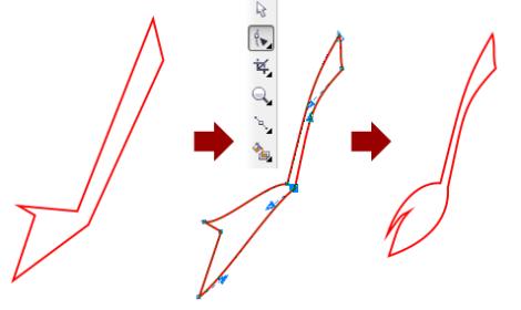 17. cara menggambar ekor kuda nil di corel draw