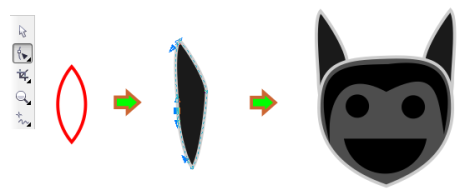 19. cara membuat kuping kalelawar dengan corel draw