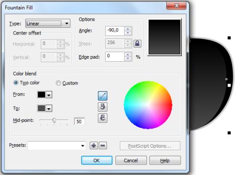 22. cara memberi warna gradasi di coreldraw