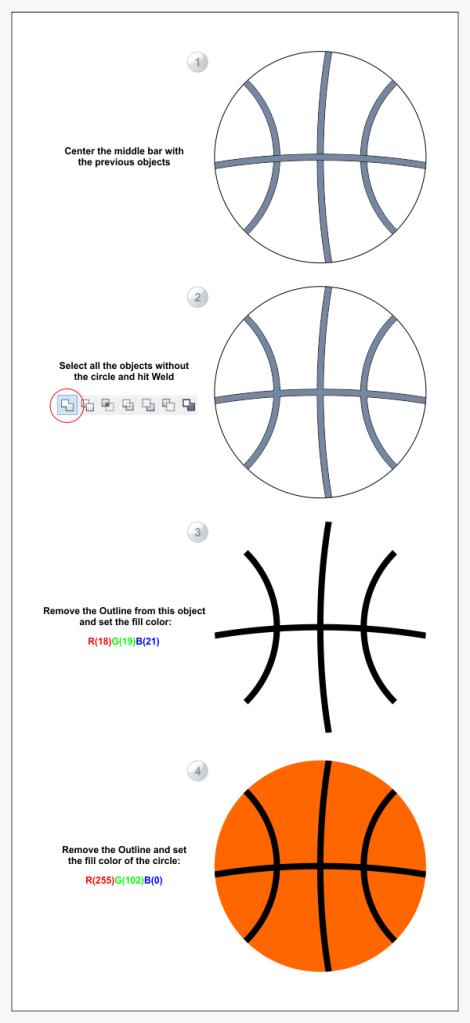 7. cara membuat bola basket di coreldraw