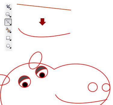 7. Menggambar mulut kuda nil dengan mudah