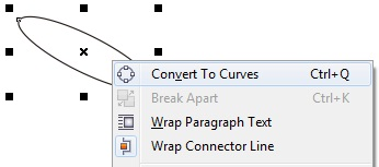 2. convert ellipse to curves in coreldraw