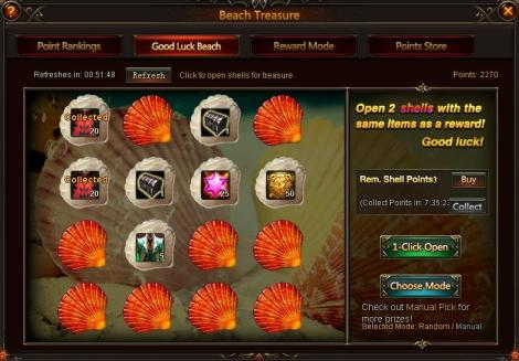 4. how to collect items from beach treasure - league of angels